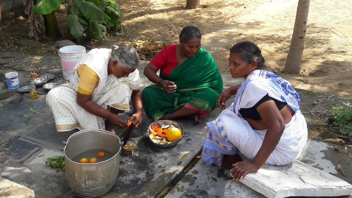 Elderly ladies cooking
